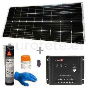 Placa solar 170 watios kit 150 x 67 cm con regulador MPPT para autocaravana