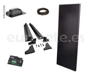 Placa solar 120 watios kit 145 x 55 Full Black alto rendimiento con regulador Duo digital para autocaravana