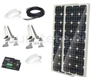 2 placas solares 100 watios 120 x 55 monocristalina con regulador Duo digital para autocaravana