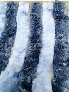 Cortina 56 x 200 azul en 2 tonos claro y oscuro para puerta entrada autocaravana 2