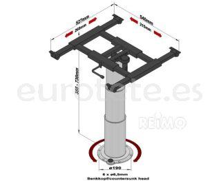Ilse mesa interior 57116 giratoria 360 grados y elevadora columna 355-730 mm autocaravana 2