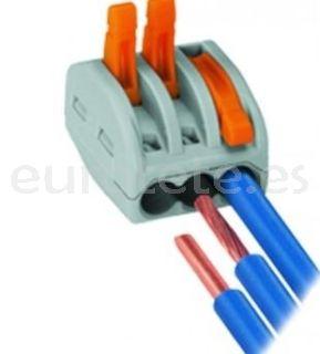 Regleta cables electricos empalmes Wago 3 cables 1
