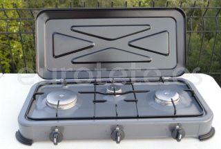 Hornillo 3 fuegos con tapa basculante para camping 1