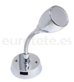 Aplique led con USB para lectura cromado y brazo flexible