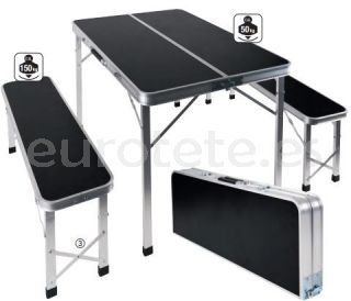 Mesa picnic con 2 taburetes plegables para camping 3