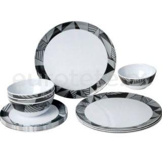 Vajilla melamina gris, negro y blanco 12 piezas Brunner Midday antideslizante para autocaravana o náutica 1