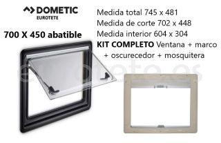 Ventana 700 x 450 Dometic S4 abatible Kit marco + oscurecedor + mosquitera 1