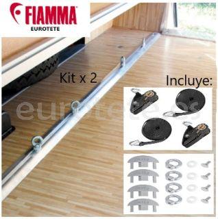 Fiamma 2 barras de 2 metros + 8 ojales + correas de Garage-Bars Premium autocaravana 1