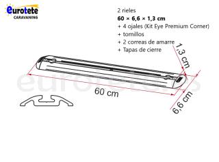 Fiamma 2 barras de 60 cm + 4 ojales + 2 correas de Garage-Bars Premium autocaravana 1