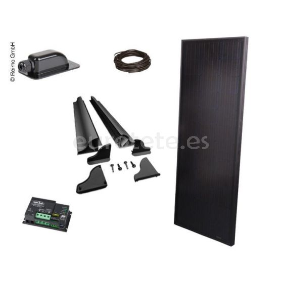 Placa solar 120 watios 145 x 55 Full Black alto rendimiento con regulador Duo digital para autocaravana furgoneta camper 1