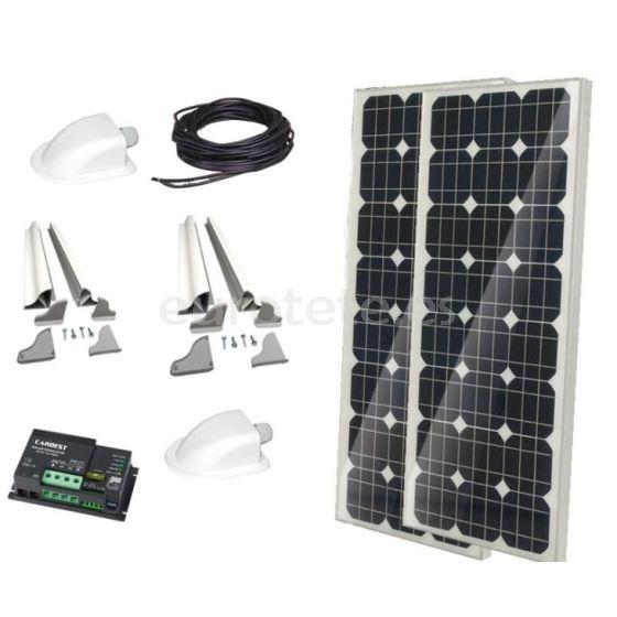 2 placas solares 100 watios 120 x 55 monocristalina con regulador Duo digital para autocaravana furgoneta camper 1