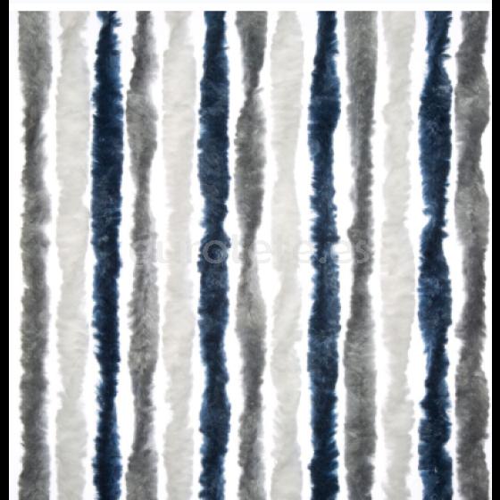 Cortina rizo Arisol blanco, gris claro y azul puerta entrada autocaravana 1