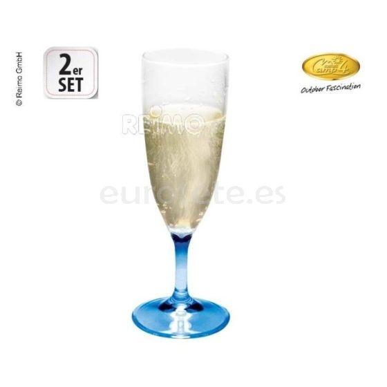 Copas champan pack 2 camp4 azul