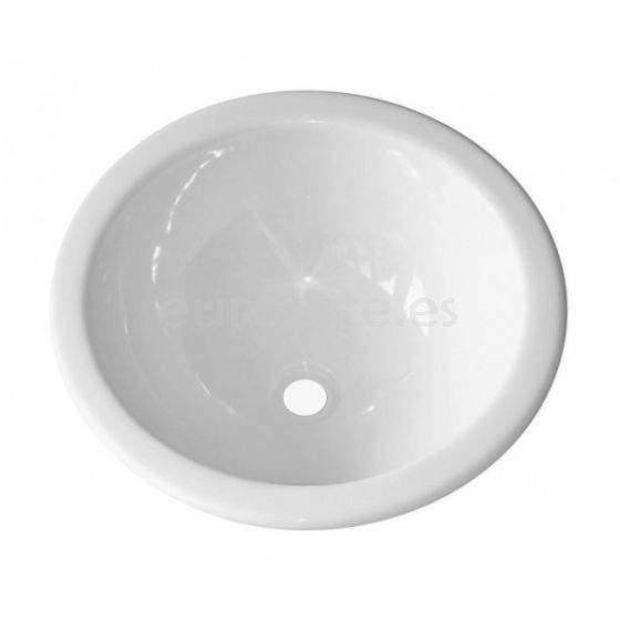 Lavabo 29 cm empotrado redondo blanco brillante para camper o autocaravana