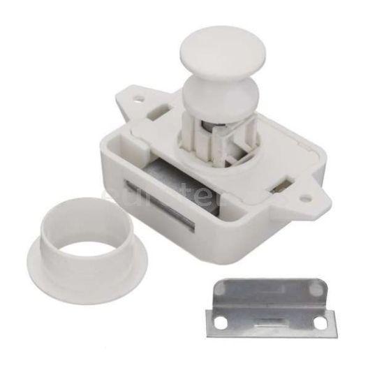 Mini Pusch Lock blanco con pulsador para puertas armario fugonetas camper