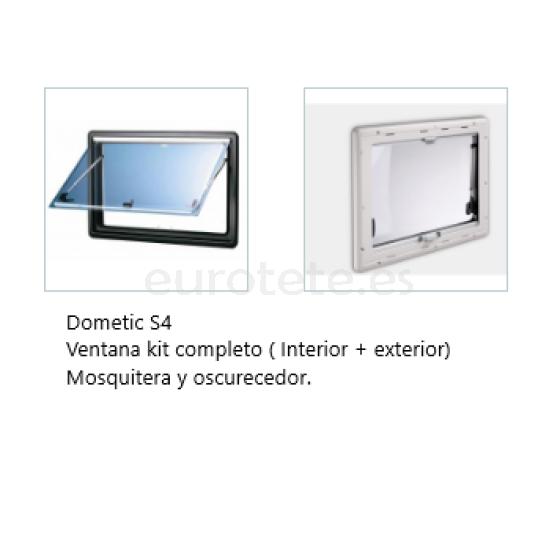 Ventana 900 x 550 - Dometic S4 abatible - Kit marco + oscurecedor + mosquitera autocaravana camper 12